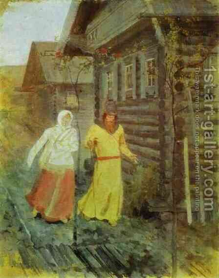 In the Village by Andrei Petrovich Ryabushkin - Reproduction Oil Painting