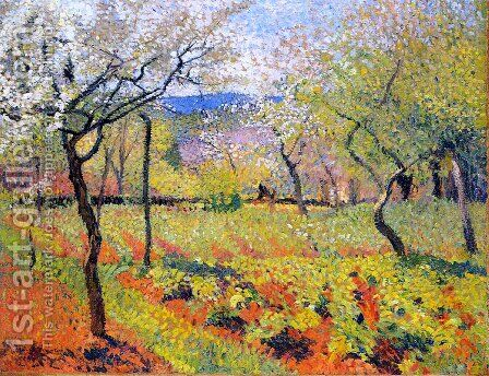 Flowering Garden in Spring by Henri Martin - Reproduction Oil Painting