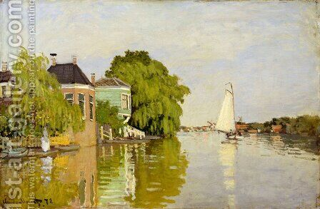 Houses on the Achterzaan by Claude Oscar Monet - Reproduction Oil Painting
