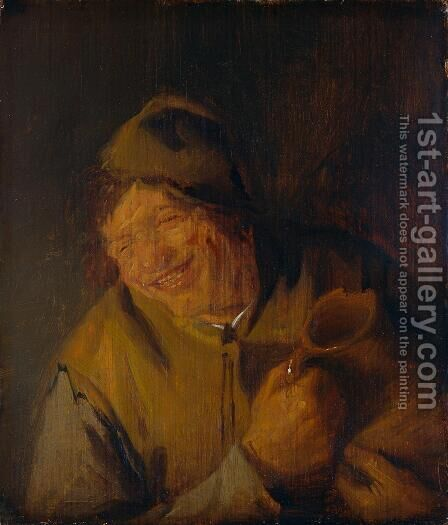 The Merry Peasant by Adriaen Jansz. Van Ostade - Reproduction Oil Painting