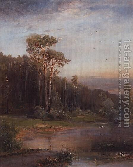Summer landscape with pine trees near the river by Alexei Kondratyevich Savrasov - Reproduction Oil Painting
