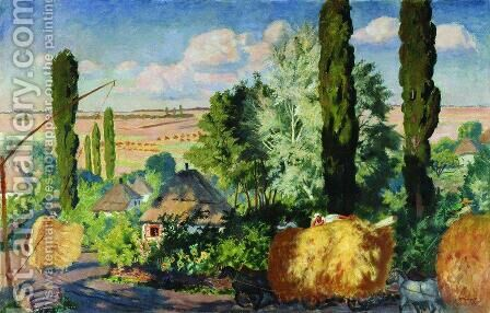 Ukrainian landscape by Boris Kustodiev - Reproduction Oil Painting