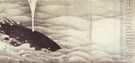 Elephant and Whale (diptych) by Ito Jakuchu - Reproduction Oil Painting