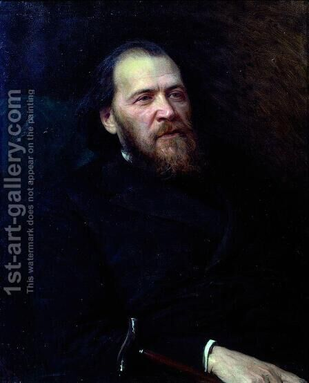 Portrait of the poet Yakov Polonsky by Ivan Nikolaevich Kramskoy - Reproduction Oil Painting