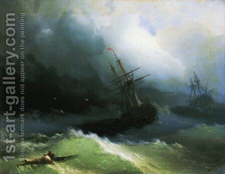 Ships in the stormy sea by Ivan Konstantinovich Aivazovsky - Reproduction Oil Painting