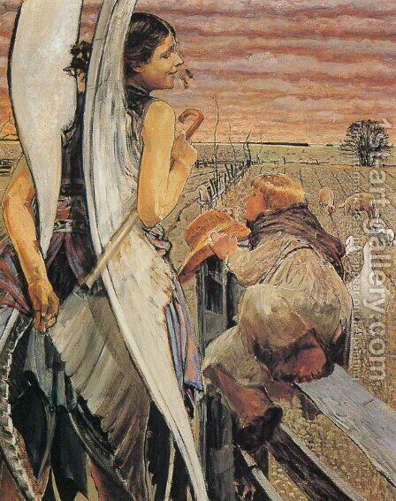 Angel and the LIttle Shepherd Boy by Jacek Malczewski - Reproduction Oil Painting