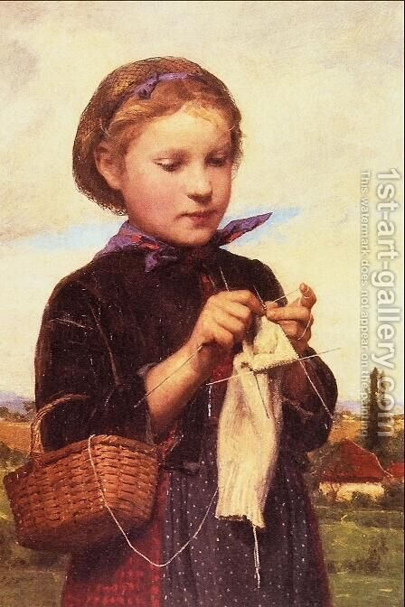 Girl Knitting by Albert Anker - Reproduction Oil Painting