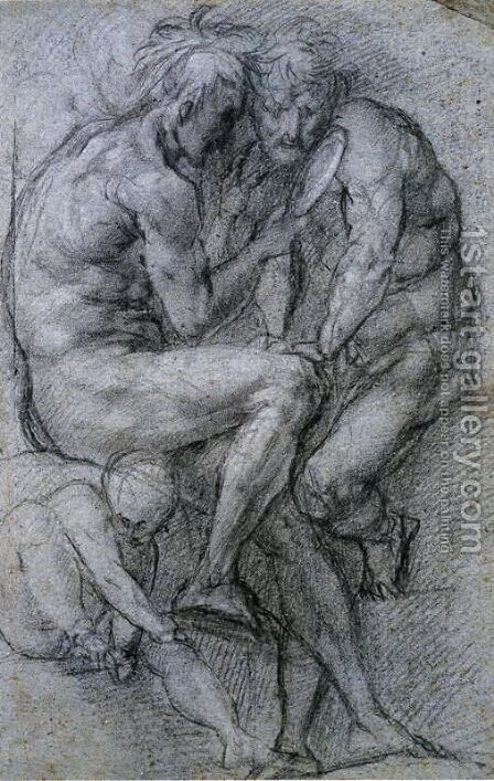 Two Male Figures Looking in a Mirror and a Putto. by (Jacopo Carucci) Pontormo - Reproduction Oil Painting