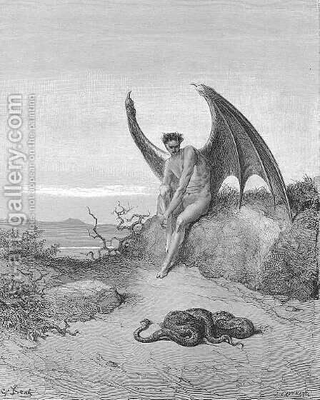 Him, fast sleeping, soon he found In labyrinth of many a round, self-rolled by Gustave Dore - Reproduction Oil Painting
