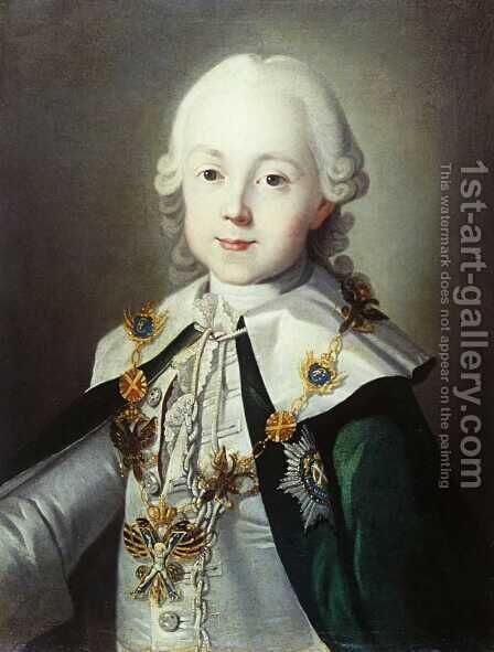 Portrait of Paul of Russia dressed as Chevalier of the Order of St. Andrew by Carl-Ludwig Christinek - Reproduction Oil Painting