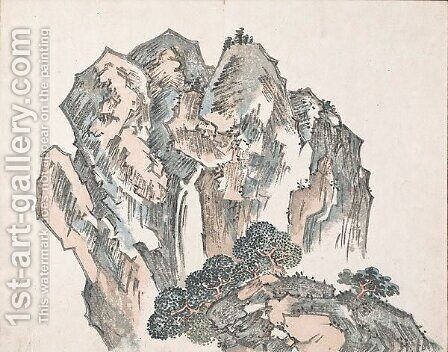 Untitled (Mountains) 2 by Ike no Taiga - Reproduction Oil Painting