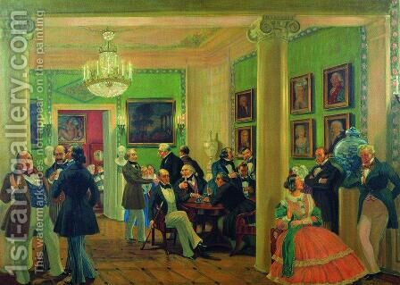 In the living room in Moscow in 1840's by Boris Kustodiev - Reproduction Oil Painting