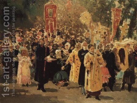 Religious procession in an oak forest. Appearance of the icon by Ilya Efimovich Efimovich Repin - Reproduction Oil Painting