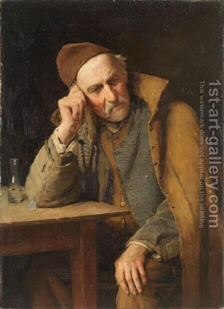 Le Vieux Schnapseur - Un Jules Avec Verre De Schnaps by Albert Anker - Reproduction Oil Painting