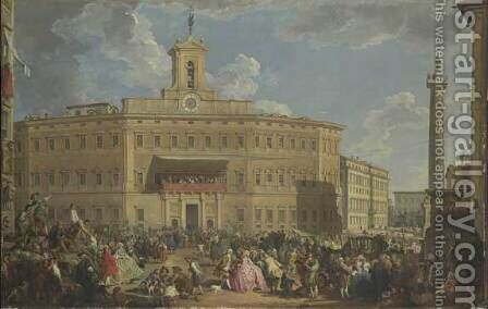 The Lottery at Palazzo Montecitorio by Giovanni Paolo Panini - Reproduction Oil Painting