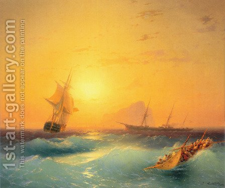 American Shipping off the Rock of Gibraltar 2 by Ivan Konstantinovich Aivazovsky - Reproduction Oil Painting