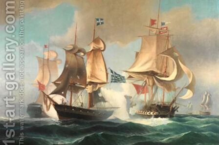 Sea Battle by Ioannis (Jean H.) Altamura - Reproduction Oil Painting