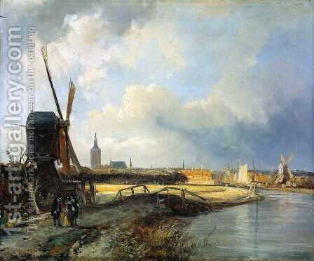 Study for View on Den Haag by Cornelis Springer - Reproduction Oil Painting