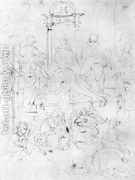 Studies on a great picture of the Virgin   Madonna and Child, saints and angels playing 2 by Albrecht Durer - Reproduction Oil Painting