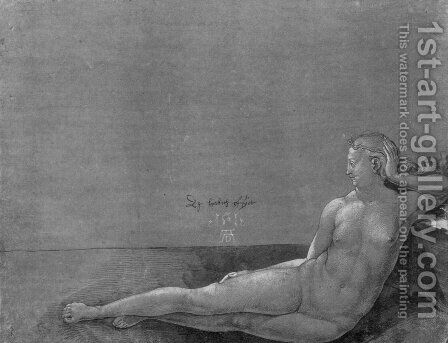 Reclining female nude by Albrecht Durer - Reproduction Oil Painting