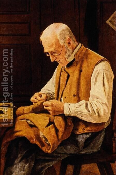 The Village Tailor by Albert Anker - Reproduction Oil Painting
