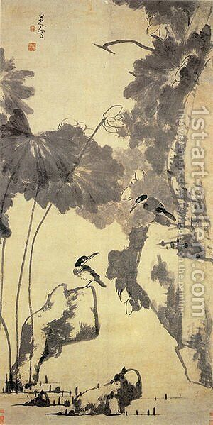 Lotus and Birds by Bada Shanren - Reproduction Oil Painting
