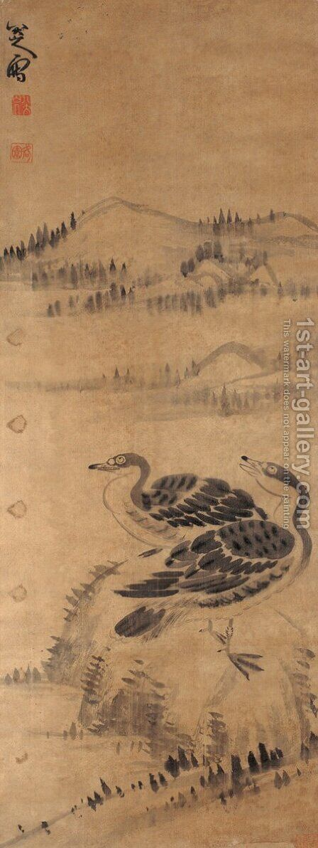 Two Wild Geese by Bada Shanren - Reproduction Oil Painting