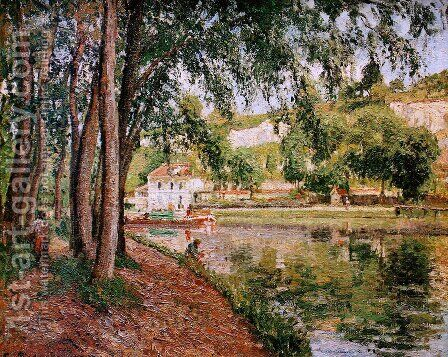 Road along the Loing canal by Camille Pissarro - Reproduction Oil Painting