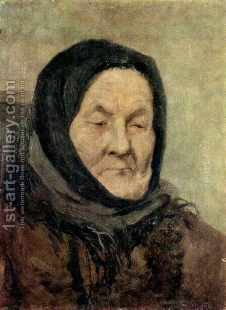 Portrait of old woman by Grigori Grigorievich Mjasoedov - Reproduction Oil Painting