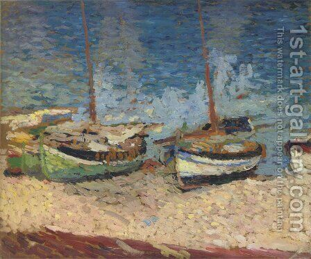 Boats in Port Collioure by Henri Martin - Reproduction Oil Painting