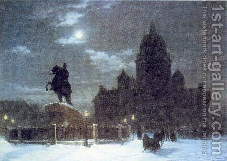 View of the Isaac Cathedral at Moonlight Night by Arkhip Ivanovich Kuindzhi - Reproduction Oil Painting