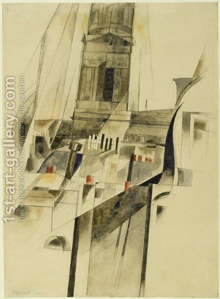 Roofs and Steeple by Charles Demuth - Reproduction Oil Painting