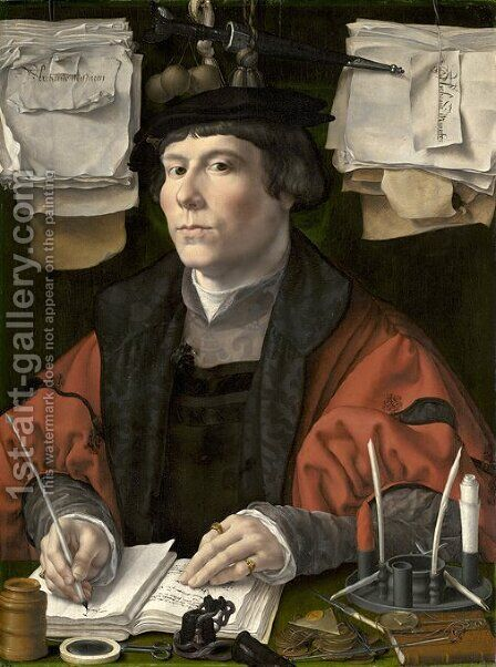 Portrait of a merchant by Jan (Mabuse) Gossaert - Reproduction Oil Painting