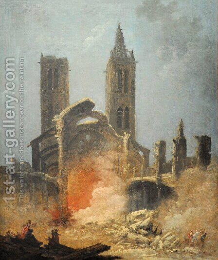 Demolition de l'eglise Saint-Jean-en-Greve - Musee Carnavalet by Hubert Robert - Reproduction Oil Painting