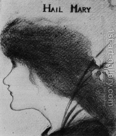 Hail Mary (pencil) by Aubrey Vincent Beardsley - Reproduction Oil Painting