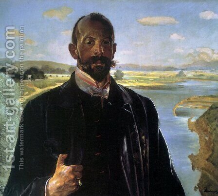 Self-portrait, vistula river behind by Jacek Malczewski - Reproduction Oil Painting