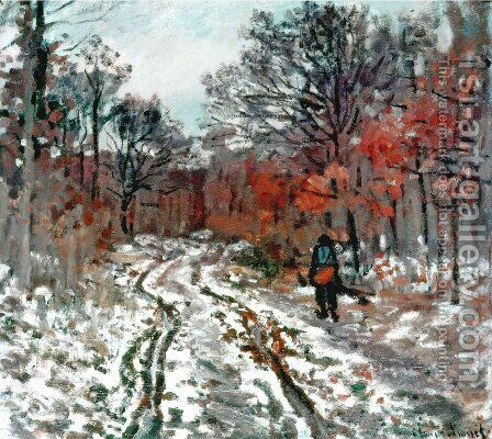Path through the Forest, Snow Effect by Claude Oscar Monet - Reproduction Oil Painting