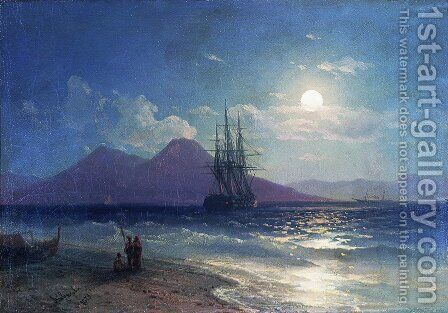 View of the sea at night by Ivan Konstantinovich Aivazovsky - Reproduction Oil Painting