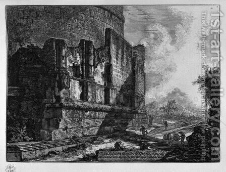 View the remains of the tomb of the Family of Plautius the Via Tiburtina near Ponte Lugano by Giovanni Battista Piranesi - Reproduction Oil Painting
