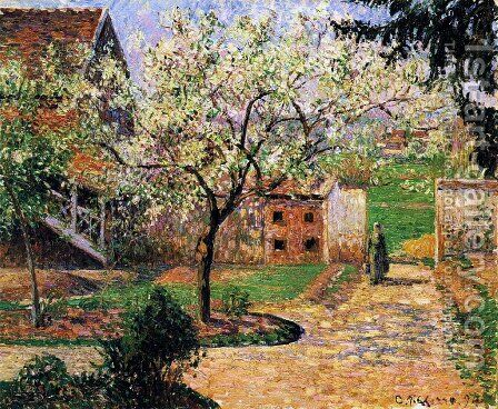 Flowering Plum Tree, Eragny by Camille Pissarro - Reproduction Oil Painting