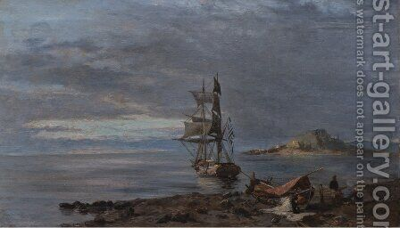 Greek frigate at anchor by Constantinos Volanakis - Reproduction Oil Painting