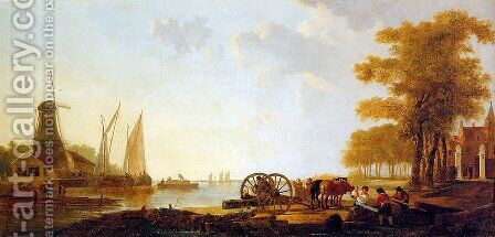 Riverlandscape with mill by Jacob van Strij - Reproduction Oil Painting