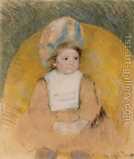 Young Girl Seated in a Yellow Armchair by Mary Cassatt - Reproduction Oil Painting