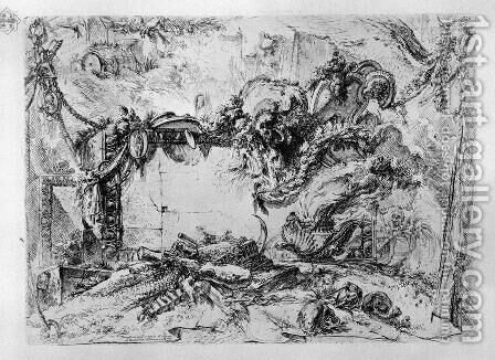 Caprice decorative frames in the middle of a wall with a oval in the upper left a barrel and a hand pours a drink, the lower a syringe, a club, a caduceus, a censer smoke, an hourglass, skulls and bones by Giovanni Battista Piranesi - Reproduction Oil Painting