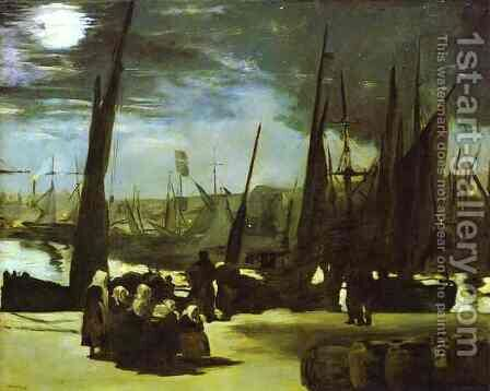 Moonlight on Boulogne Harbour by Edouard Manet - Reproduction Oil Painting