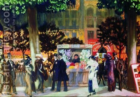 Paris Boulevard at Night by Boris Kustodiev - Reproduction Oil Painting