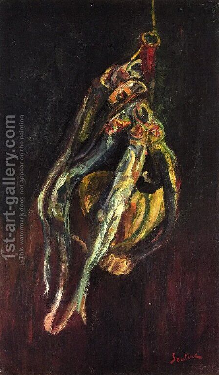 Herrings and a Bottle of Chianti by Chaim Soutine - Reproduction Oil Painting