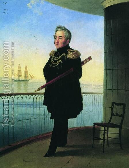 Portrait of Vice Admiral M.P. Lazarev by Ivan Konstantinovich Aivazovsky - Reproduction Oil Painting