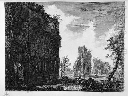 View the remains of the circumference of the oldest manufacturers of one of the squares of the Villa Adriana by Giovanni Battista Piranesi - Reproduction Oil Painting