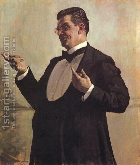 Portrait of Russian actor Vasily Luzhsky by Boris Kustodiev - Reproduction Oil Painting
